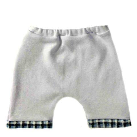 Baby Boys' White Shorts with Blue Plaid Hem for Preemie Newborn and Toddlers