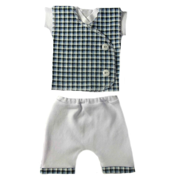 Newborn and Preemie Baby Boys' Blue Checkered Vest Shorts Clothing Set