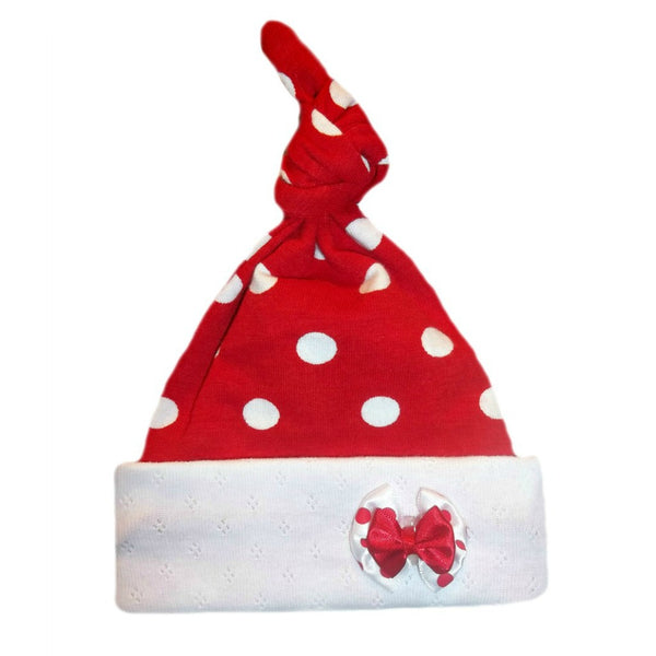 Baby Girls' Red Polka Dot Knotted Hat for Preemie and Newborn