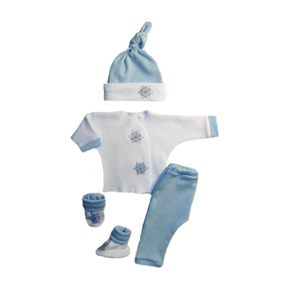 Baby Boys' Blue Snowflake 4 Piece Clothing Outfit