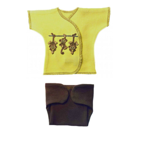Unisex Baby Monkey Business Shirt and Diaper Set