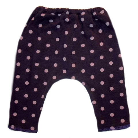 Toddler, Newborn and Preemie Baby Girl Capri Leggings! Purple with Pink Polka Dots!