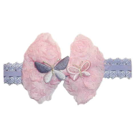 Lavender and pink butterfly headband for toddler, newborn and preemie