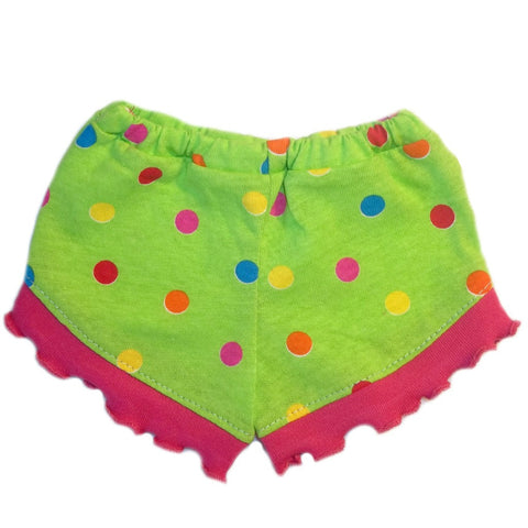 Toddler, Newborn and Preemie Baby Girl Lucy Shorts! Green with Polka Dots!