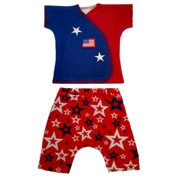 Newborn and Preemie Baby Boy USA Shorts Clothing Set