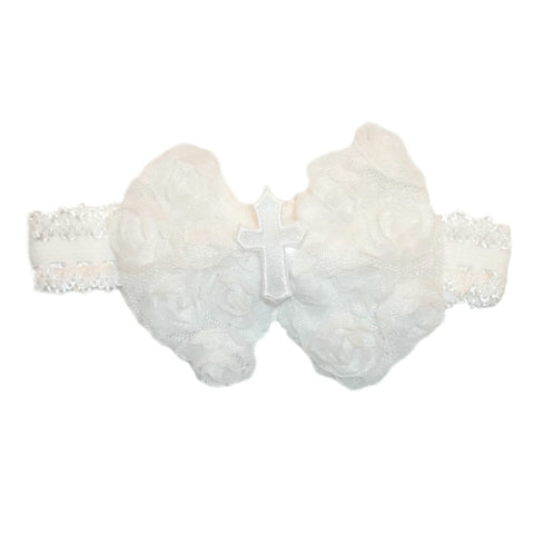 Baby Girls' White Cross Rose Headband for Preemie Newborn and Toddlers.