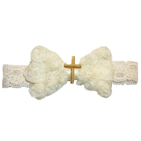 Baby Girls' Gold Cross Ivory Shabby Rose Headband