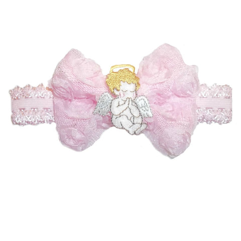 Baby Girls' Pink Angel Shabby Rose Headband