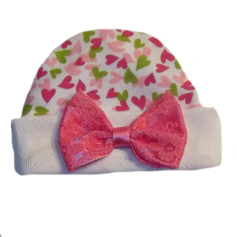 Baby Girls' Joyful Hearts Hat with Lace Bow