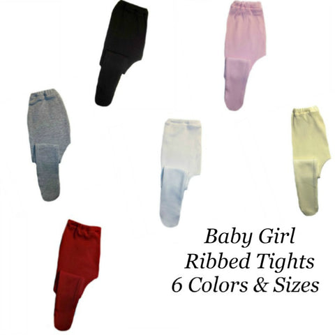 Baby Girls' Cotton Ribbed Tights - 6 Colors and Sizes!