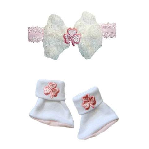Baby Girls' Precious Pink Shamrock Irish Booties and Headband Set Sized For Preemie and Newborn Babies