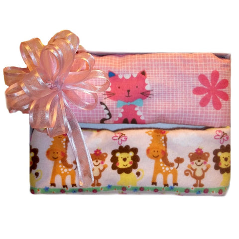 Baby Girls' Animal Fun Washcloths Set of Two Gift Box
