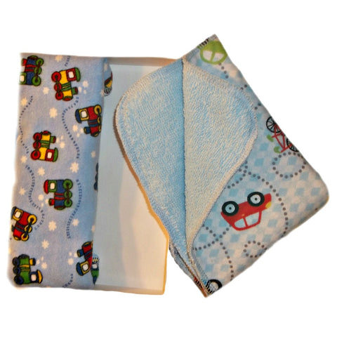 Baby Boys' Trains and Cars Washcloths Set of Two