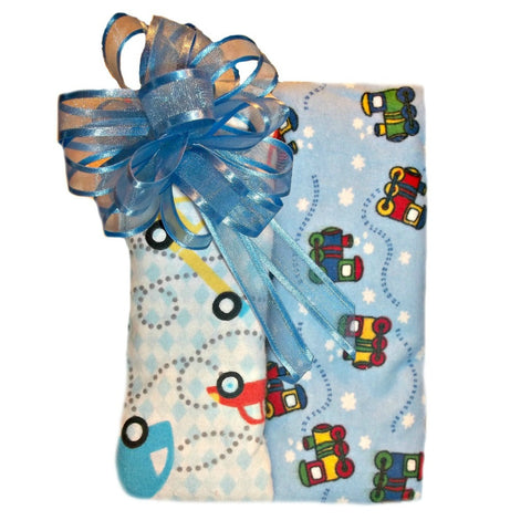 Baby Boys' Trains and Cars Washcloths Set of Two Gift Wrap