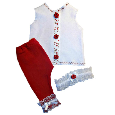 Baby Girl's Red Rose Clothing Set Sized for Preemie and Newborn Babies