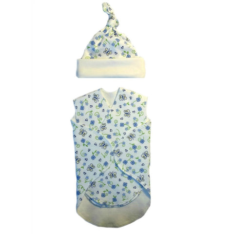Baby Girls' Preemie Blue Flowers and Butterflies Snuggler Wrap and Hat