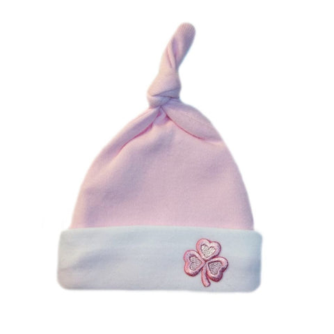 Newborn and Preemie Baby Girls' Knotted Pink Shamrock Irish Hat.