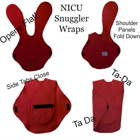 Preemie Clothing Snuggler Wraps for Premature Babies and NICU Micro Preemies.
