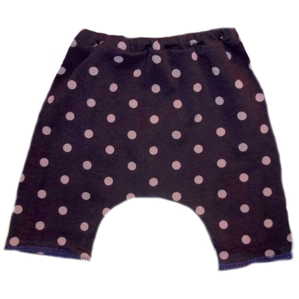 Toddler, Newborn and Preemie Baby Girl Bike Shorts! Purple with Pink Polka Dots!