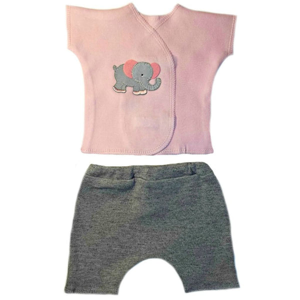 Baby Girl Eager Elephant Baby Shorts Set Sized for Preemie and Newborn Babies