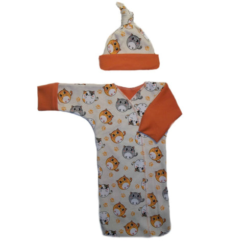 Adorable Fat Cat Baby Bunting Gown and Hat Set
