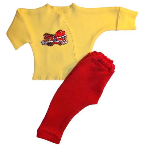 Baby Boys' Happy Fire Truck 2 Piece Clothing Outfit Set