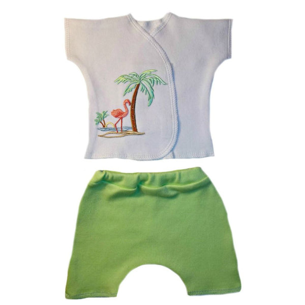 Unisex Baby Flamingo Paradise Shorts Set for Premature Babies, Preemie, Micro Preemies and Newborns