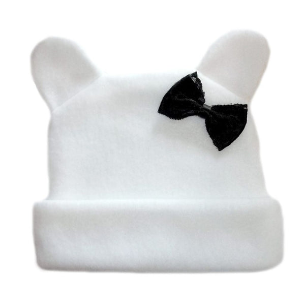 Baby Girl  White Fleece Hat with Ears and Black Bow for Preemie, Toddlers and Newborns!