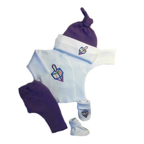 Newborn and Preemie Baby Girls' Darling Dreidel Clothing Set