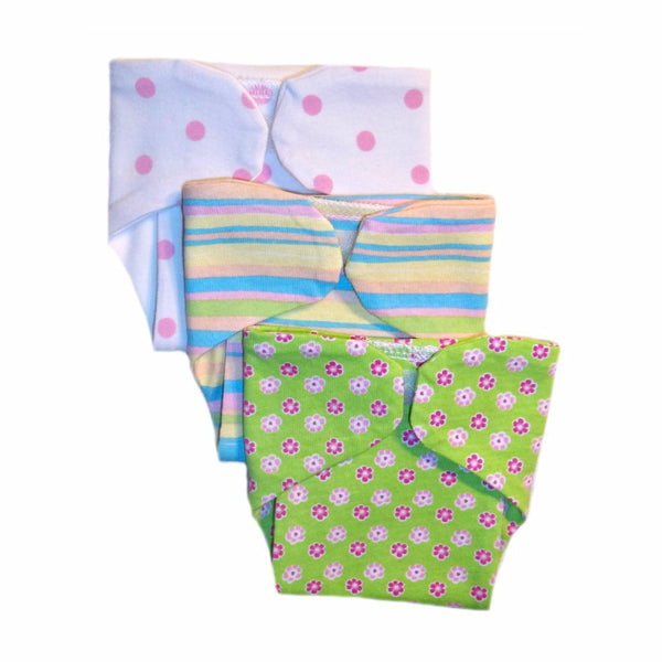 Baby Girls' Set of 3 - Funky Diaper Covers Sized For Preemie and Newborn Babies