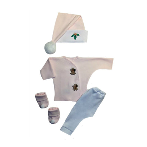 Baby Girls' Gingerbread Man Pink Clothing Set Sized For Preemie and Newborn Babies