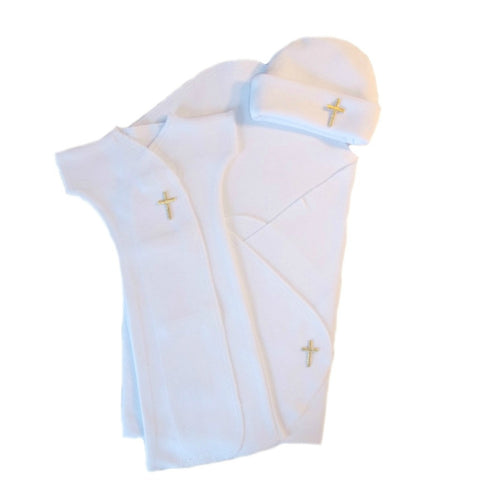Unisex Baby Preemie Christian Bereavement Gown Set with Cross Sized For Newborn Babies