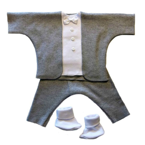 Baby Boys' Gallant Gray Tuxedo Suit Sized for Preemie and Newborn Babies
