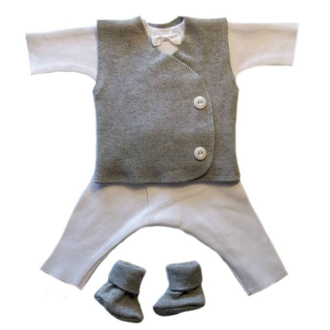baby boy gallant suit with gray vest sized for preemie and newborn babies