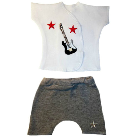 Baby Boy's Junior Rock Star Shorts Set. For Premature Babies, Micro Preemie and Newborn Infants.