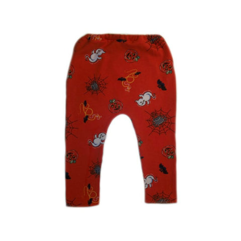 Orange Halloween Baby Leggings with Ghosts & Pumpkins