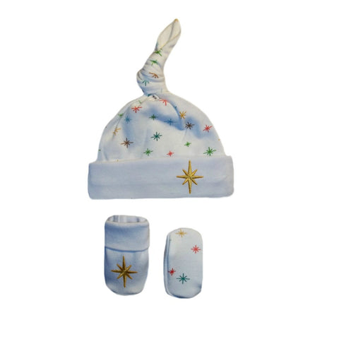 Preemie and Newborn Shining Star Unisex Baby Hat & Booties Set