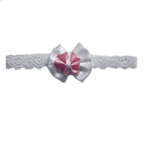 Baby Girls' Pretty Pink and White Headband Sized for Preemie and Newborn Babies