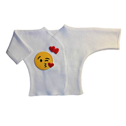 Unisex Baby Red Heart Emoticon Long Sleeve White Shirt