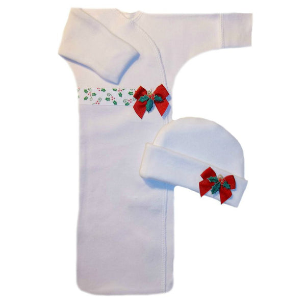 Christmas Baby Girl Holly Gown for Preemie and Newborns