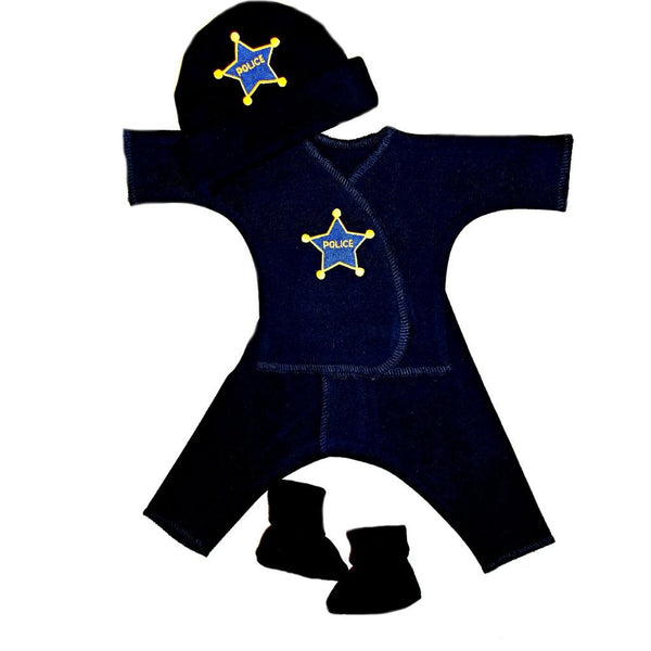 Baby Boy's Police Officer Clothing Set is Available in Preemie and Newborn Sizes