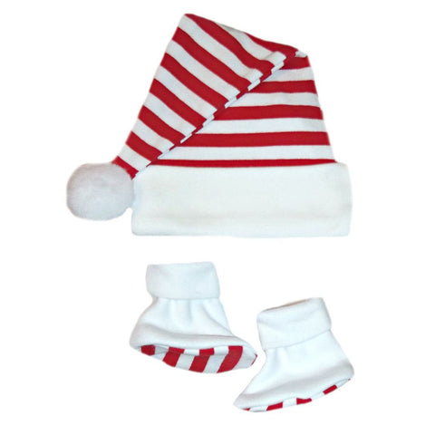Unisex Baby Christmas Santa Hat & Booties with Red & White Stripes are sized for Preemie and Newborn Babies