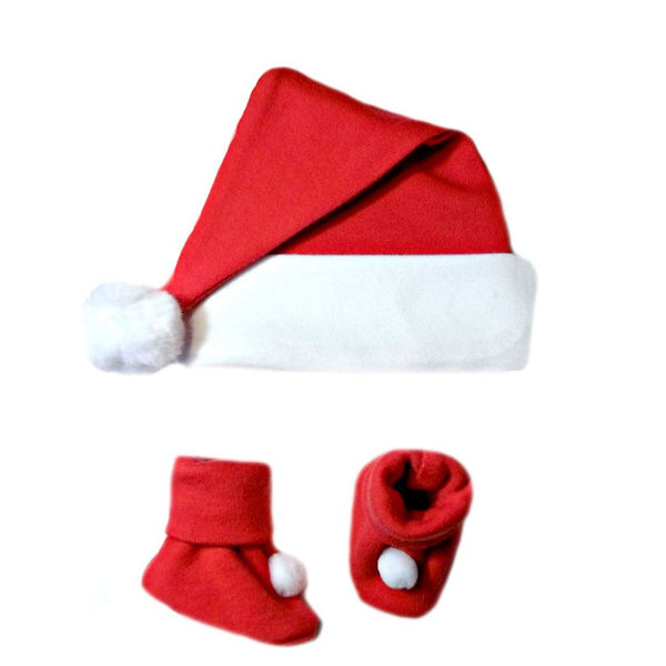 Unisex Baby Christmas Santa Hat & Booties sized for Preemie and Newborn Babies