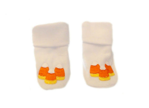 Unisex Baby Candy Corn Booties sized for Preemie and Newborn Babies