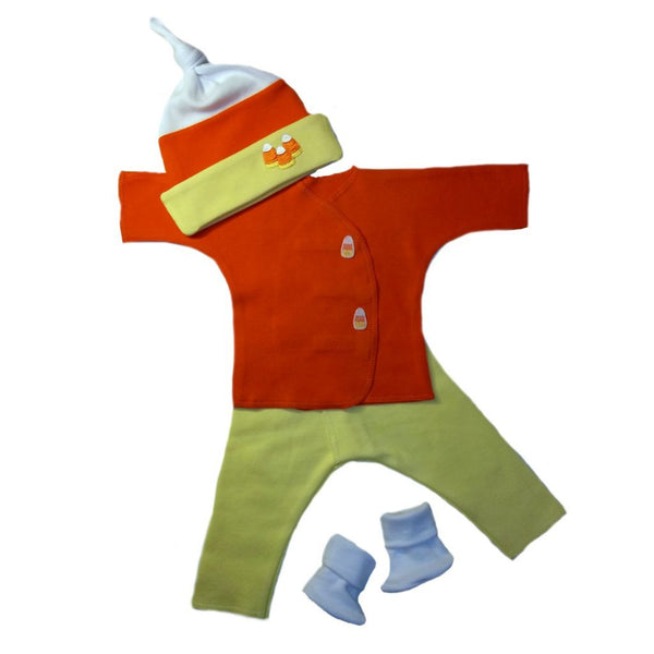 Unisex Baby Candy Corn Clothing Set Sized for Preemie and Newborn Babies