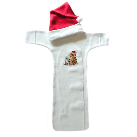 Unisex Baby Christmas Puppy and Kitten Bunting Gown Set sized for Preemie and Newborn Babies