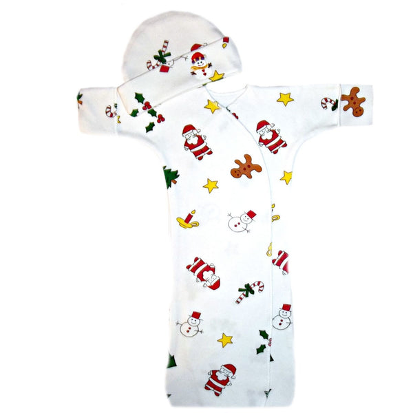 Unisex Baby Christmas Bunting Gown and Hat Set sized for Preemie and Newborn Babies