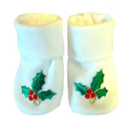 Unisex Baby Christmas Holly Booties sized for Preemie and Newborn Bsbies