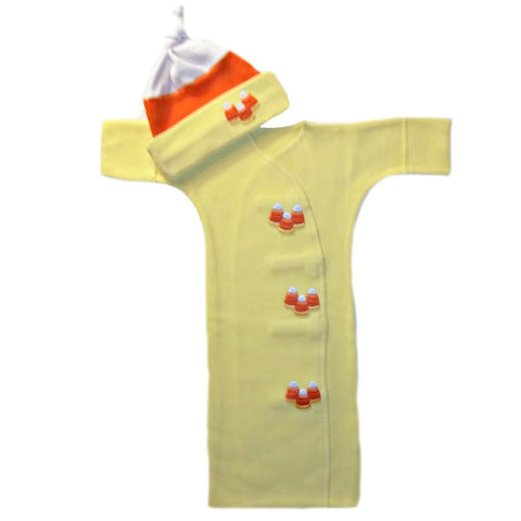 Unisex baby Candy Corn Bunting Gown and Hat Set sized for Preemie and Newborn Babies