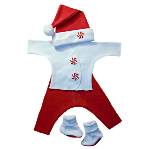 Unisex Baby Christmas Santa Peppermint Candy Set Sized for Preemie and Newborn Babies